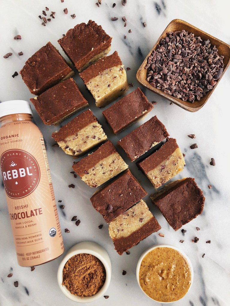 Healthier Chocolate Cookie Dough Fudge Bars made with vegan and gluten-free ingredients for an easy no-bake dessert!
