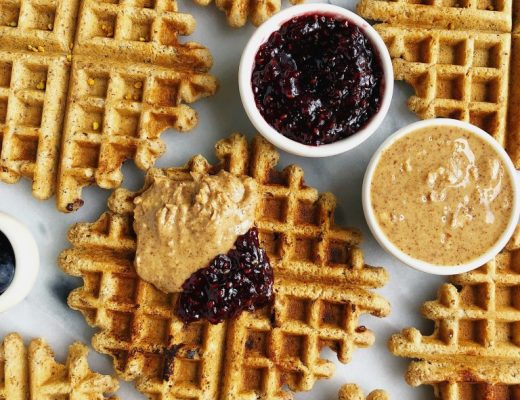 Crispy Peanut Butter & Jelly Stuffed Waffles made with vegan and gluten-free ingredients for a dreamy brunch recipe!