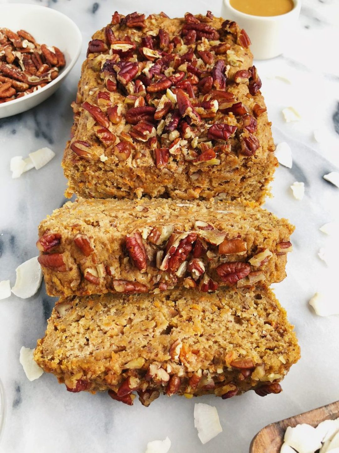 One-Bowl Vegan Carrot Cake Loaf made with sprouted spelt flour for a healthier carrot cake recipe!