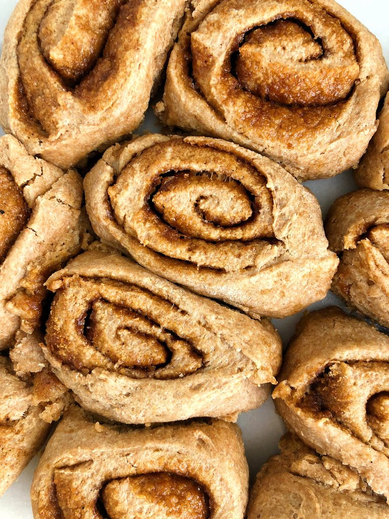 Healthy Vegan Cinnamon Rolls made with no yeast and they're ready in under 30 minutes!