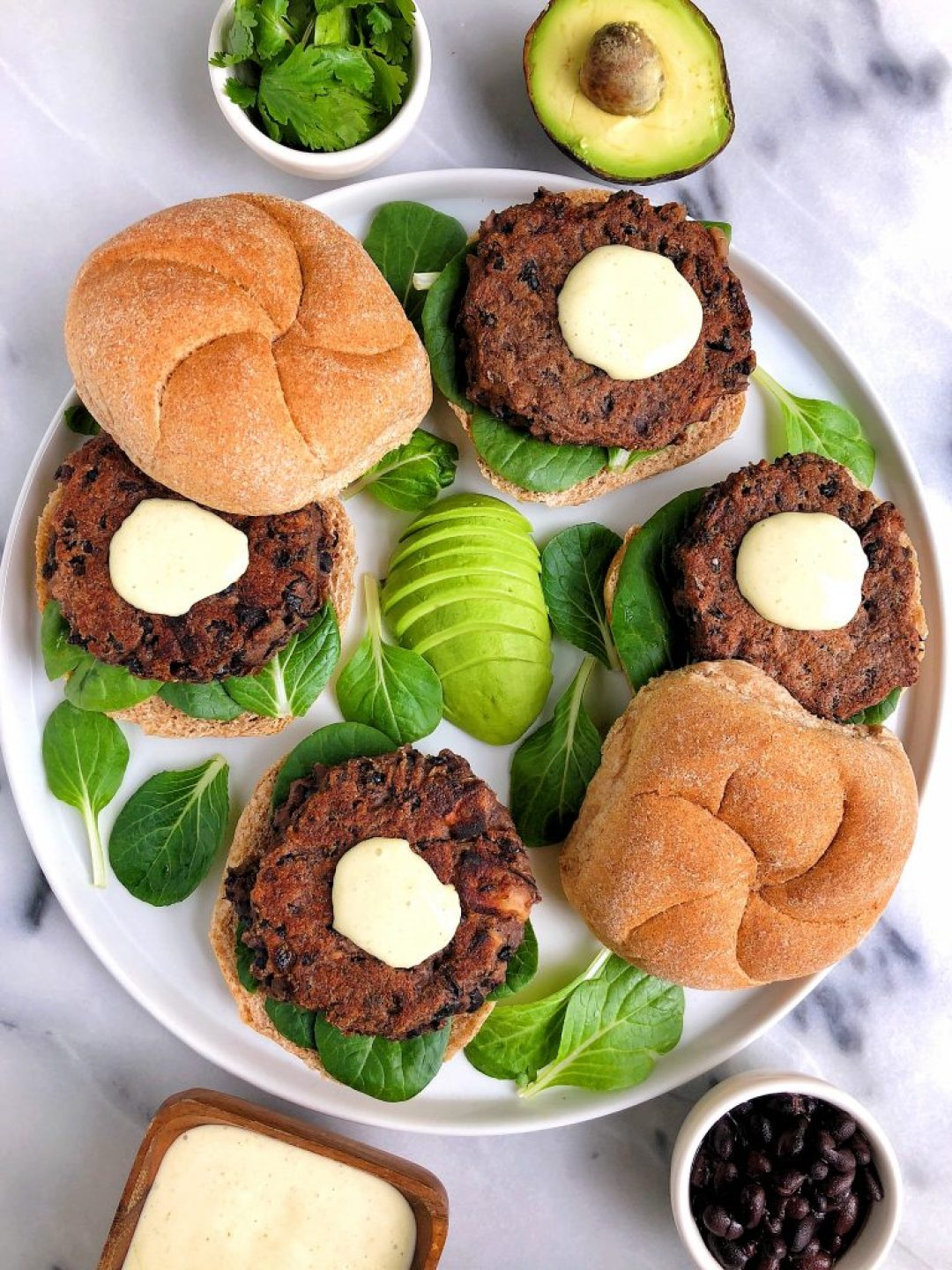 Vegan Black Bean Burgers with Spicy Aioli (gluten-free