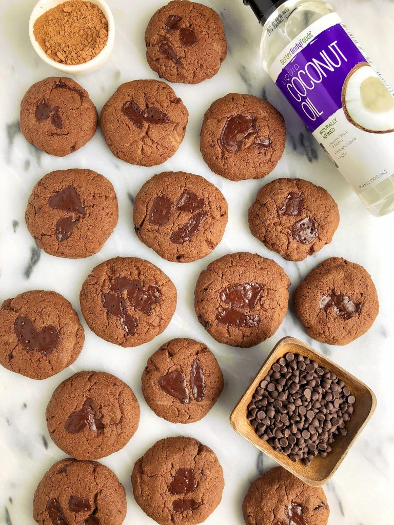 Double Chocolate Coconut Oil Cookies that are gluten-free, dairy-free and uses coconut oil instead of butter!