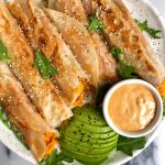Easy Sweet Potato Veggie Taquitos made with organic bone broth for a healthier gluten-free, dairy-free crispy taquito recipe!
