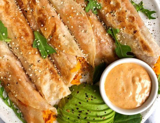 Easy Sweet Potato Veggie Taquitos made with organic bone broth for a healthier gluten-free, dairy-free crispy taquito recipe!