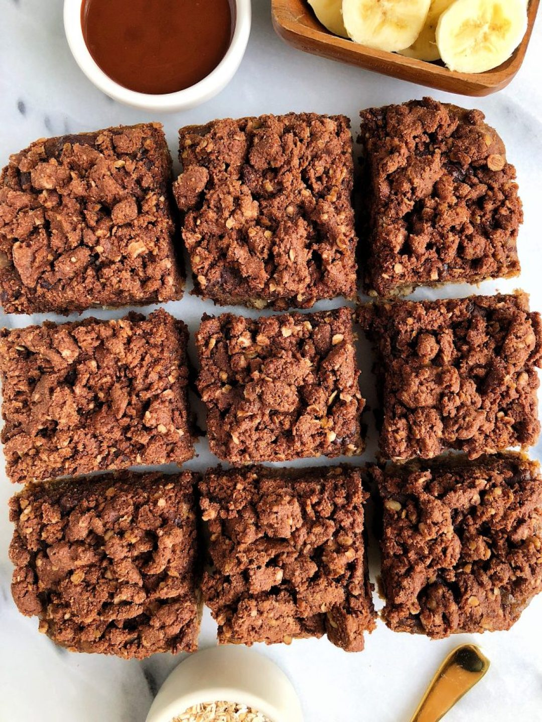 The dreamiest Chocolate Crumb Banana Bread Bars made with vegan, gluten-free and refined sugar-free ingredients!