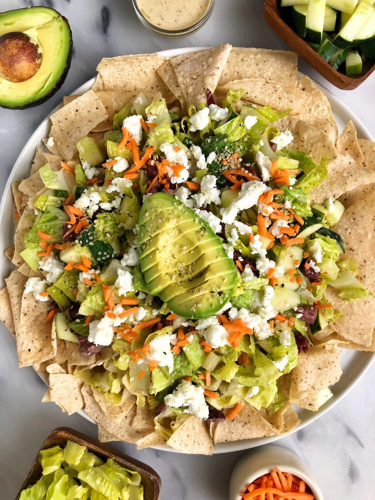 "Zesty Chopped Salad ""Nachos"" made with gluten-free and dairy-free ingredients for an easy and healthy twist on nachos!"