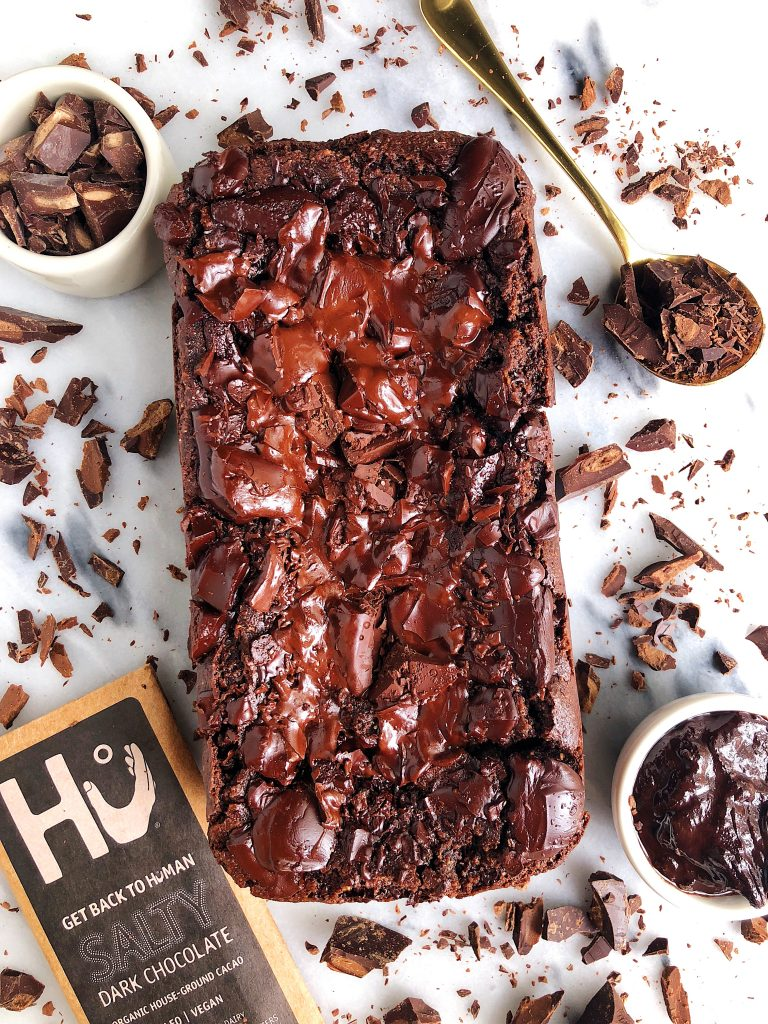 Paleo Dark Chocolate Brownie Bread made with almond flour and all vegan and gluten-free ingredients!