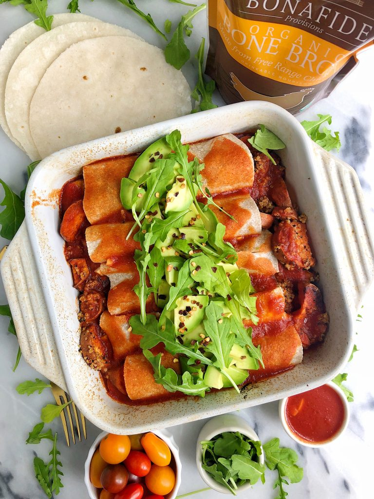 Sweet Potato Quinoa Enchiladas made with all gluten-free and dairy-free ingredients and made with a homemade enchilada sauce using bone broth!
