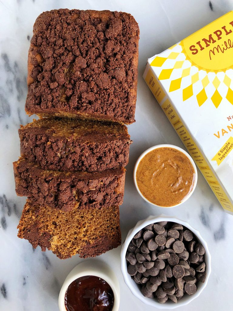 Vegan Chocolate Chip Gingerbread Loaf with a homemade chocolate crumb topping made with all vegan and grain-free ingredients!