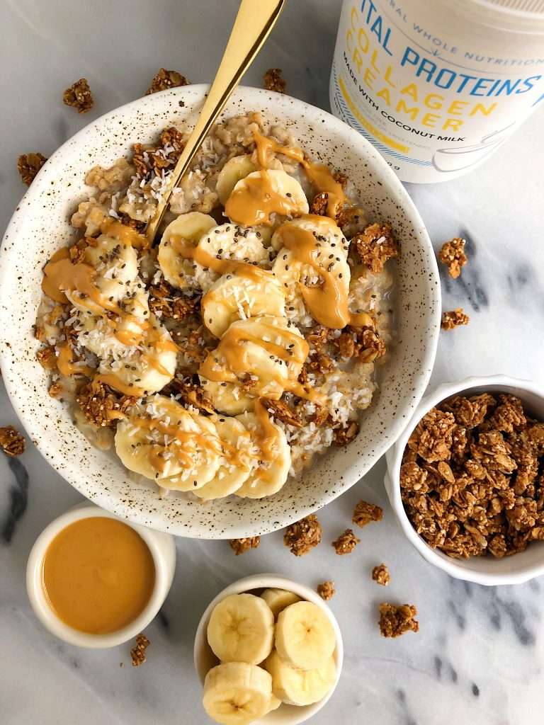 Sharing How I MakeThe Best Creamy Stovetop Oatmeal made with gluten-free and dairy-free ingredients and they have extra protein in them!
