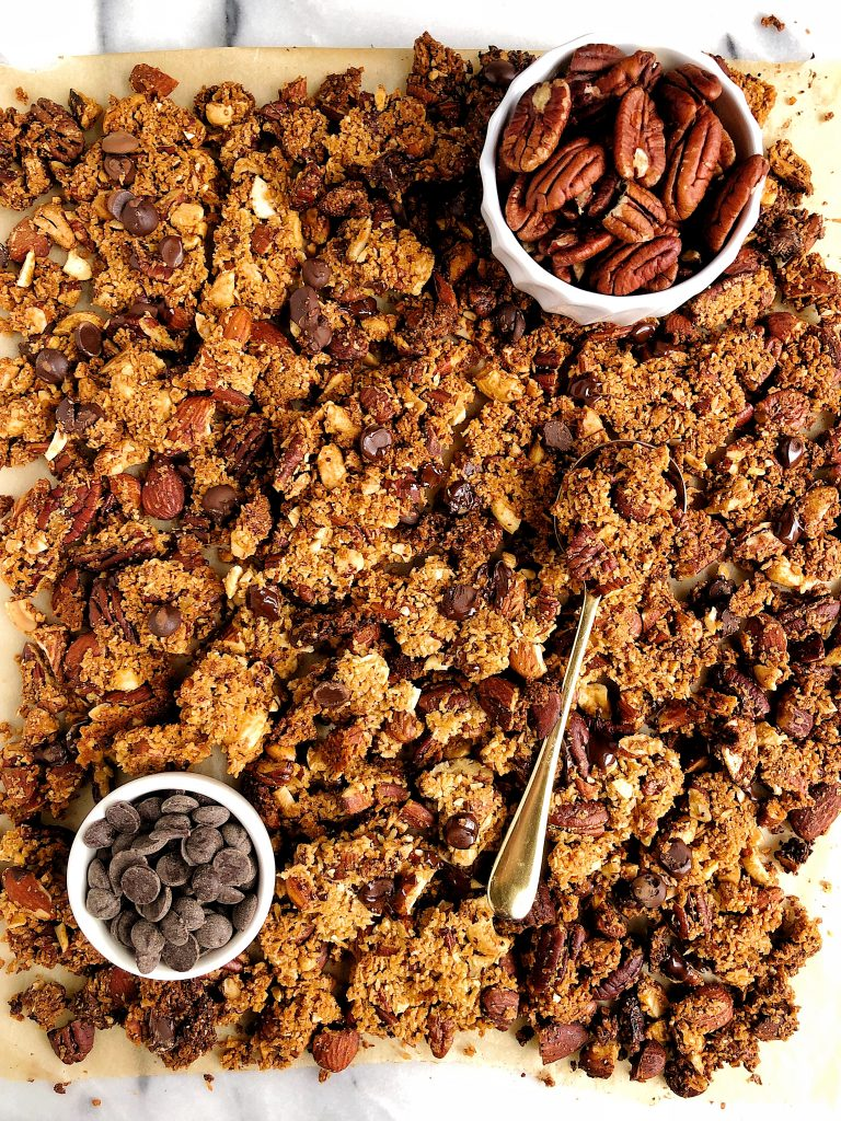 Super Chunky Grain-free Chocolate Chip Granola made with all vegan and gluten-free ingredients for an easy and healthy nut-based granola recipe!