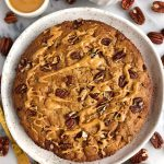 Gluten-free Pecan Carrot Cookie Cake made with less than 10 ingredients for an easy and healthy carrot cake cookie skillet recipe!
