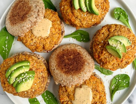 Buffalo Sweet Potato Veggie Burgers made with grain-free, gluten-free and dairy-free ingredients plus they are Whole30-friendly!