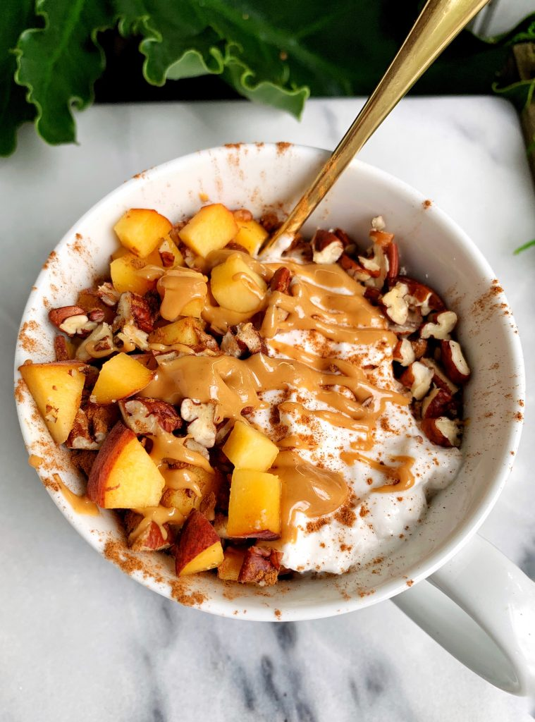 Sharing my 3-minute Paleo Peach Crisp For One made with all gluten-free and vegan ingredients for the an easy and healthy peach crisp recipe!