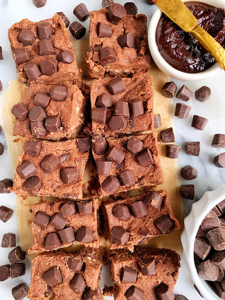 Vegan Chocolate Chunk Brownie Batter Fudge Squares made with 6 ingredients for an easy and healthy homemade brownie batter recipe!