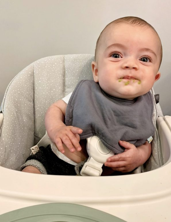 Introducing Solids to Ezra at 5 Months