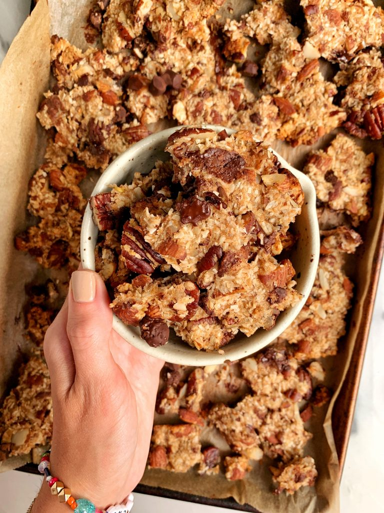 The Best Chewy Banana Bread Granola with Clusters made with all grain-free and refined sugar-free ingredients!