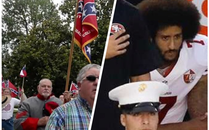 Colin Kaepernick Confederate Flag National Anthem