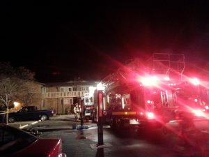 Firefighters from multiple jurisdictions responded to an apartment fire at 4020 North Main Street at 8:11 p.m. Sunday. (Photo By Denise Lockwood)