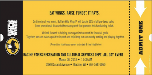Racine Parks, Rec BW3 fundraiser