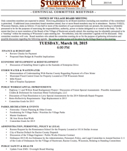 Sturtevant Committee Agenda March 10