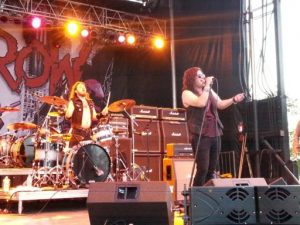 Singers from the band Black Saints opened up for Skid Row Friday night at the Kraut Music Festival.