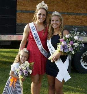 Mrs. Wisconsin poses with 2015 Kraut Queen Marly Gould, 18, of Racine, and Princess Sophia Kroes, 5, of Racine.