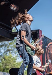 Guitarists Ryan Williams and Tyler Valendza, of Red Sun Rising, played at WiiL Rock Fest Saturday, Aug. 22, at Caledonia-Mount Pleasant Memorial Park. (Photo By Ronnie Mason)