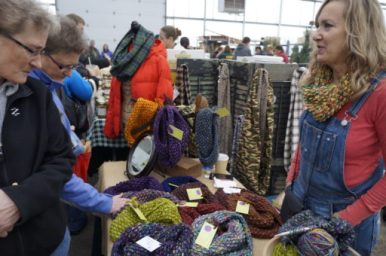 Jill Fulmer, of Fun Fibers by Jill, said she liked selling at the farmer's market because her customers can see and feel what she makes.