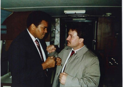 Muhammed Ali and Tom Simons in a boxing stance on Sept. 21, 1986.