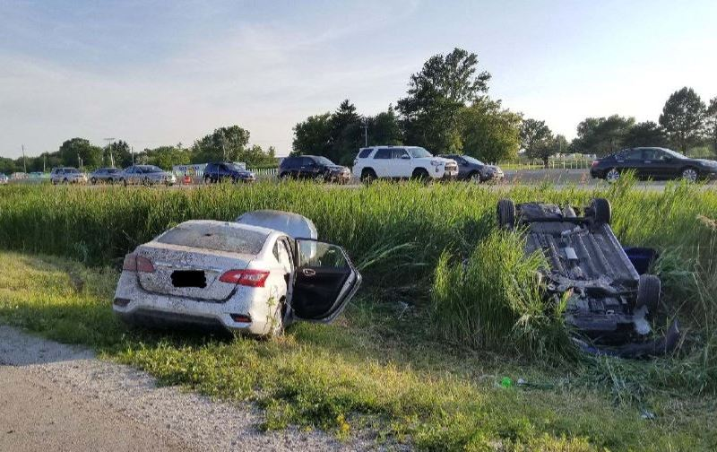 rollover crash results in 6 people taken to the hospital