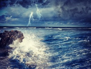stormy sea with bolt of lightening