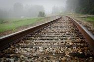 train tracks in fog