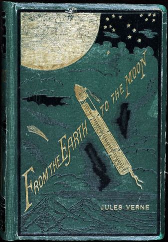 Cover of From the Earth to the Moon, Jules Verne, 1867.