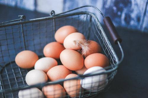 Basket of fresh eggs.