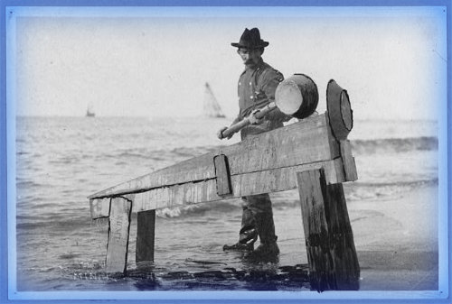Miner Washing Gold at Shore, Early 1900s.