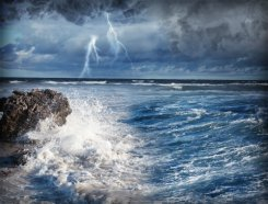 Lightning Bolt Over Stormy Sea.