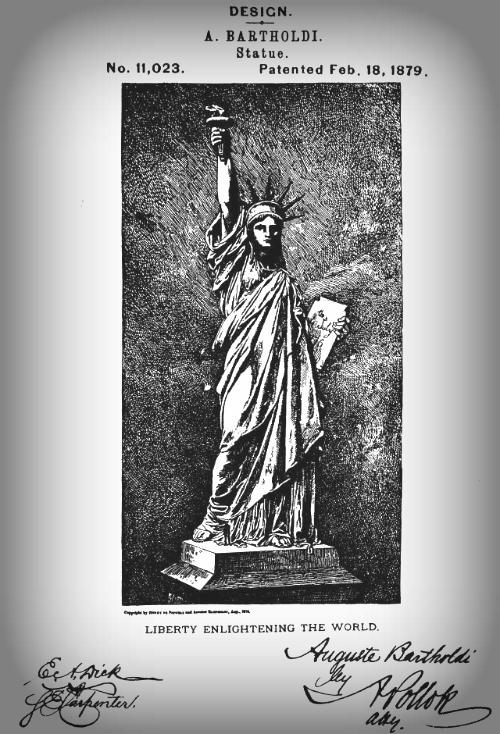 Bartholdi's Patent of Statue of Liberty, 1879.