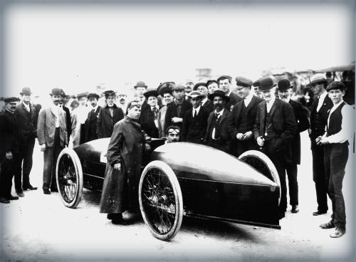 Marriott Drives Stanley Rocket, 1907.