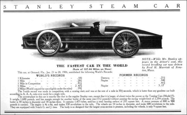 Fastest Car In the World: The Stanley Steam Car.
