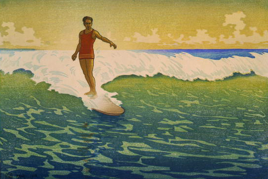 Hawaiian Surfers-Woodcut by Charles William Bartlett, 1920-30. Library of Congress.