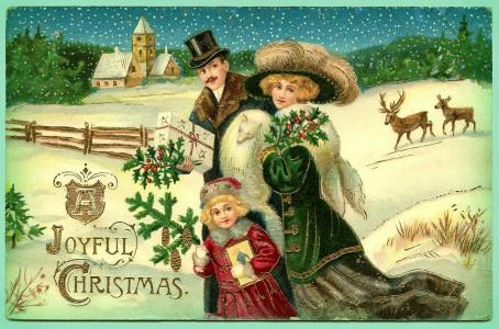 Victorian Era Holiday Card.