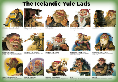 13 Icelandic Yule Lads And Parents. Image: iceland.is.