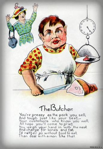 Victorian Era Vinegar Valentine. The Butcher.