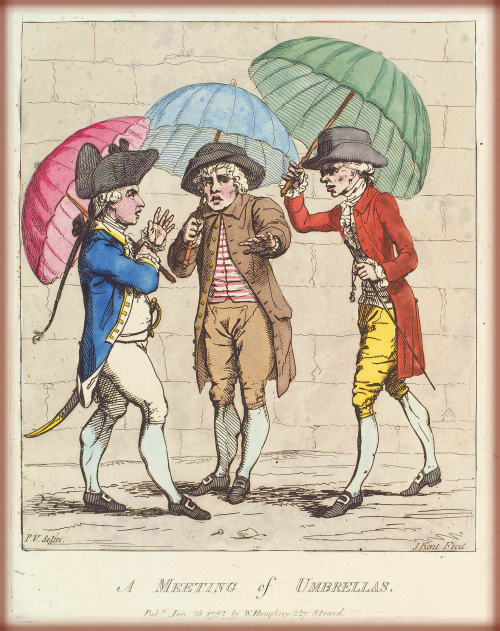 A Meeting Of Umbrellas: James Gillray,1782.