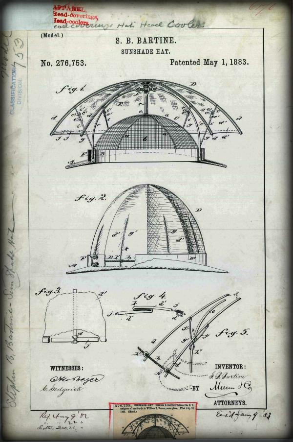Sunshade Hat by S.B. Bartine, 1883.