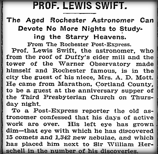 Lewis Swift: New York Times, 1902.