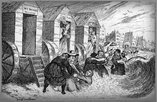 Bathing At Brighton, 1829, George Cruikshank. Image: photohistory-sussex.