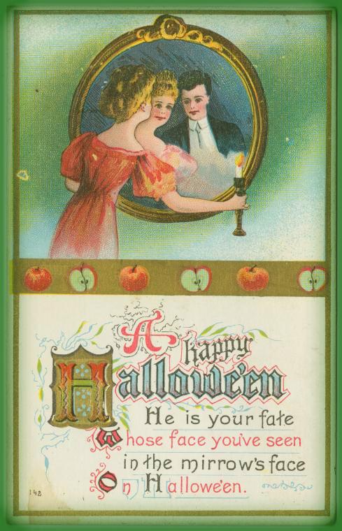 Victorian Era Halloween Greeting Card.