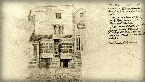 Mary Anning's House, Lyme Regis, Dorset, England. 1842.